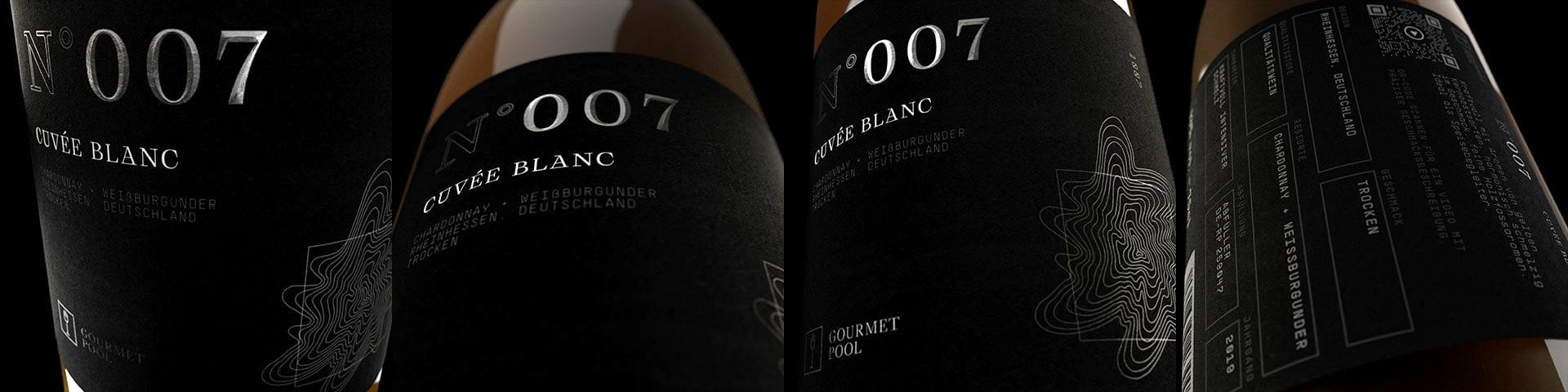 Weinflaschen Detailaufnahme N°007 Cuvée Blanc